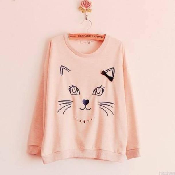 sweater pink black oversized sweater hanger cats drawing kawaii sweet sweatshirt