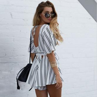 jumpsuit romper showpo cute summer dress white stripes boho bohemian vogue chanel instagram