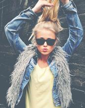 jacket,fur vest,ponytail,faux fur vest,grey fur vest,jeans,sunglasses,coat,gilet,frizzy,wool,vintage,denim,glasses,hair,tank top,top,summer,girl,blouse,denim jacket,cute,casual,yellow,t-shirt