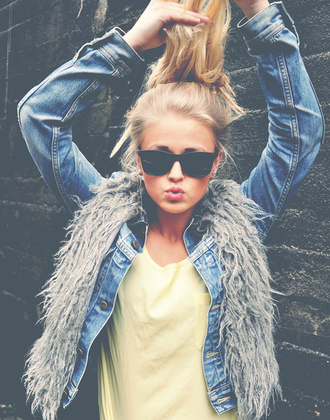 jacket fur vest ponytail faux fur vest jeans sunglasses coat gilet frizzy wool vintage denim glasses hair tank top top summer girl blouse denim jacket