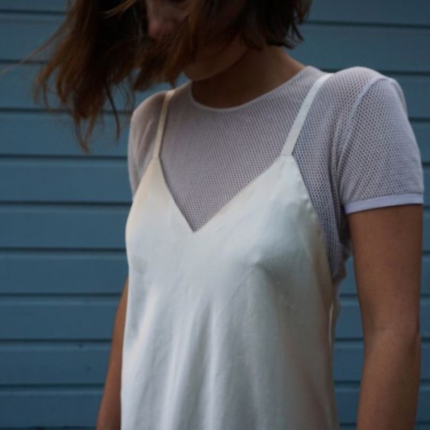 dress slip dress silk mesh top mesh white dress all white everything dress over t-shirt