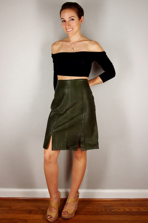 Army Green Leather Skirt, Leather Mini Skirt