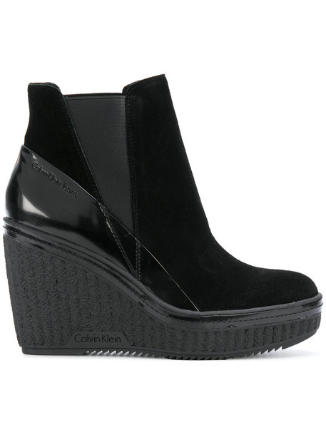 Calvin Klein Jeans women ankle boots leather suede black shoes