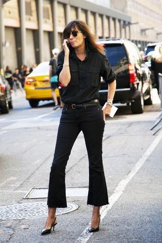 le fashion image blogger sunglasses blouse shirt jeans wide-leg pants denim jacket black jacket