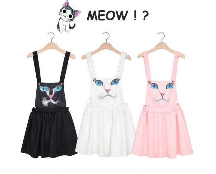 Kawaii cat face harajuku women jumpsuit elastic waist suspender skirt cute dress
