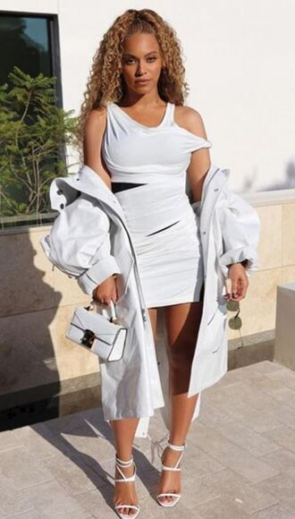 dress white white dress sandals all white everything mini dress beyonce purse instagram celebrity bodycon dress shoes