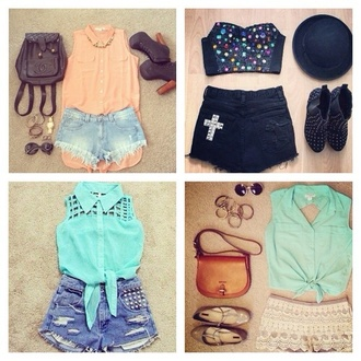 shorts pers outfit fashion style top collared shirts pretty girly girl accessories bag hat perfecto shoes sunglasses bred 11s
