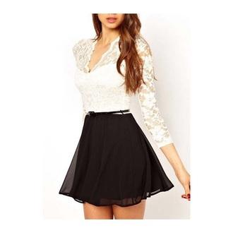 dress white t-shirt causal fashion style casual dress lace dress lace skirt belt black dress