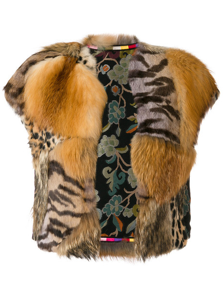 ETRO jacket fur jacket fur fox women cotton brown