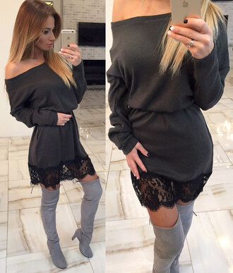 dress off the shoulder off the shoulder dress one shoulder girly mini dress long sleeves long sleeve dress boots tumblr clothes party dress party christmas urban clothes boho dress little black dress boho chic chic dope lounge wear casual dress chic dress