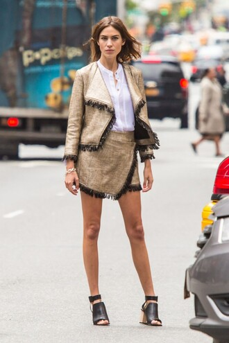 jacket skirt sandals alexa chung editorial blouse