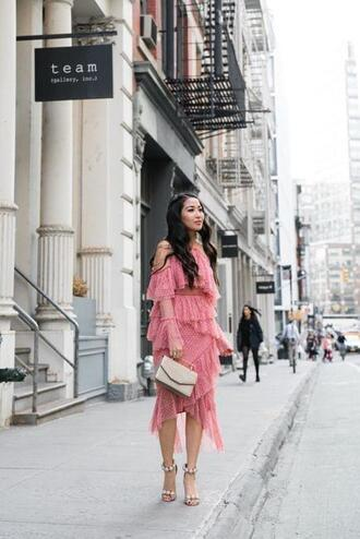 wendy's lookbook blogger dress shoes bag jewels pink dress ruffle dress sandals