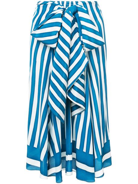 Tome skirt striped skirt women blue silk