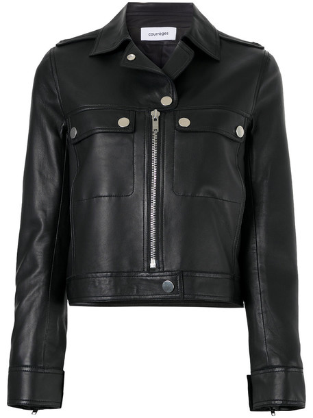 COURRÈGES jacket biker jacket women classic leather black