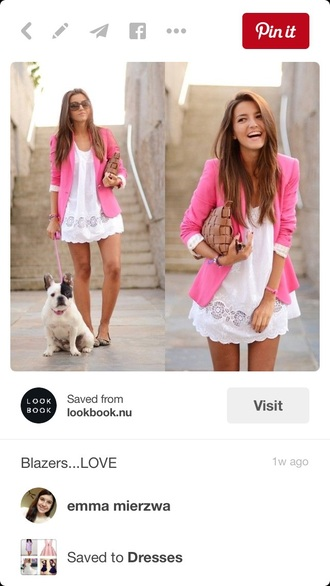 jacket dress white dress pale pink blazer
