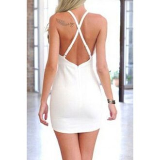 dress rose wholesale criss cross white white dress summer dress bikini girl cute streetstyle backless white top