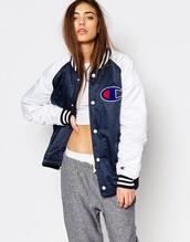 jacket,bomber jacket,blue and white,champion,clothes,varsity jacket
