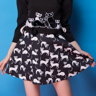 skirt black cats kawaii kawaii grunge cute halloween skater skirt hipster trendy black sweater goth punk lolita tumblr goth hipster all black everything it girl shop grunge pastel grunge girly flare pastel goth high waisted japan hippie