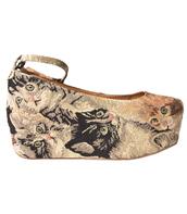 beebee,jeffrey campbell,flatforms,cat tapestry,shoes,cat shoes,platform ballerinas
