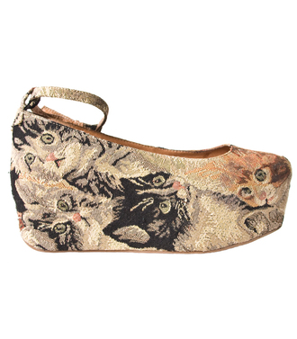beebee jeffrey campbell flatforms cat tapestry shoes cat shoes platform ballerinas