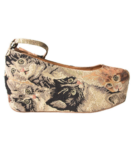 flatforms platform ballerinas jeffrey campbell beebee cat tapestry shoes cat shoes