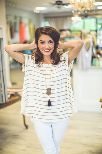 top side detail classic stripes lace details lace detailing stripes striped tshirt striped top white striped top preppy preppy fashionist summer comfortable