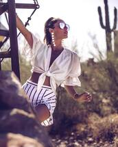 top,tumblr,white top,crop tops,v neck,accent earrings,aviator sunglasses,shorts,pompon earrings,jewels