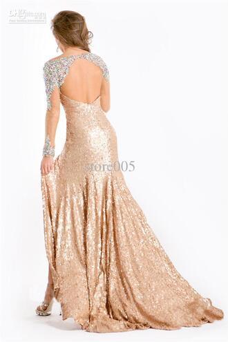 dress gold sequins long sleeve dress sparkly dress