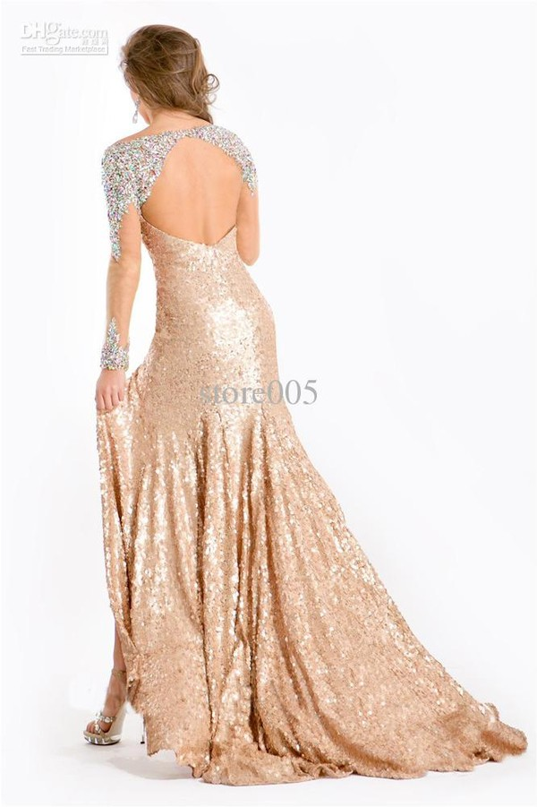 dress gold sequins long sleeve dress sparkly dress