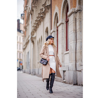 angelica blick blogger shoes coat hat top skirt bag nude coat chain bag over the knee boots asymmetrical skirt white top crop tops