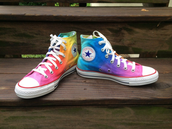 Custom Hand Painted Rainbow HIGH TOP Converse by IntellexualDesign