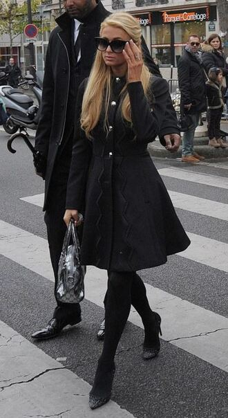 coat pumps paris hilton all black everything fall outfits