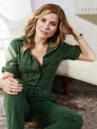 jumpsuit sophia bush olive green editorial