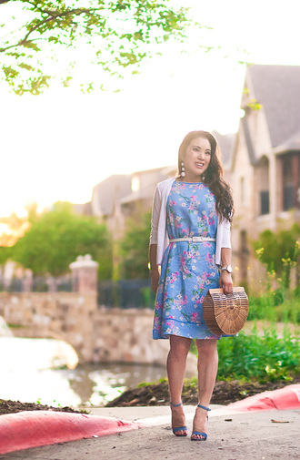cute & little blogger dress cardigan belt shoes jewels bag blue dress floral dress spring outfits sandals high heel sandals cult gaia