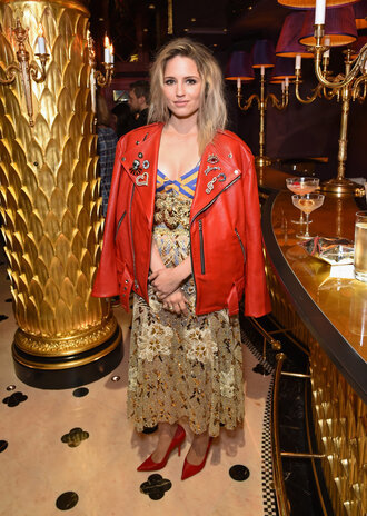 dress gold lace dress dianna agron fashion week 2016 london fashion week 2016 pumps jacket