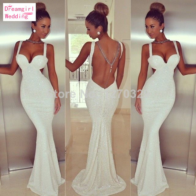 Aliexpress.com : Buy 2014 Cheap Mermaid New Tank Straps Sweetheart White Mermaid Long Evening Dresses Sequined Sexy Backless Prom Party Gown BO4919 from Reliable gown beaded suppliers on Dream Girl Wedding