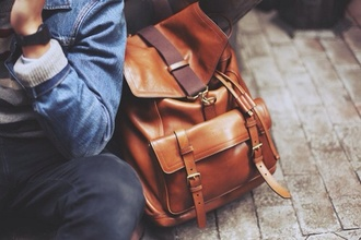 bag backpack brown leather leather backpack cool dope brown leather backpack menswear cuir school bag boho hipster tan brown