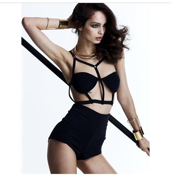 swimwear black cutout black cut-out two-piece two-piece