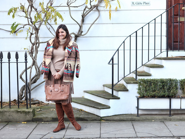 fashion foie gras blogger jacket sweater skirt bag boots brown boots handbag pleated skirt turtleneck sweater winter outfits fall outfits knee high boots