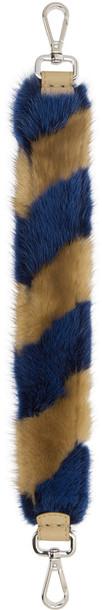 Fendi mini fur bag blue brown