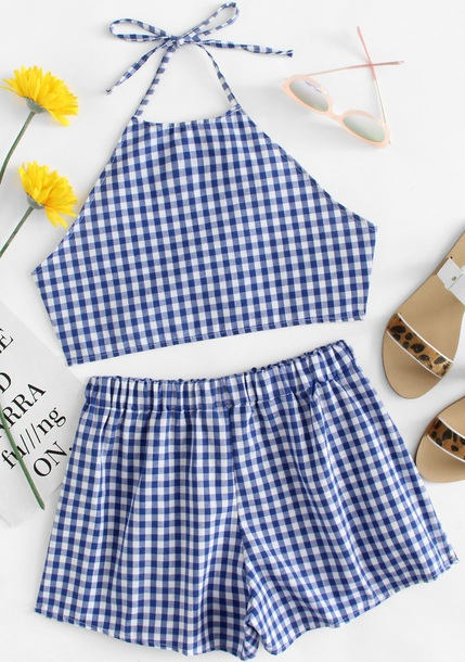 romper girly blue white checkered two-piece matching set crop tops crop cropped shorts