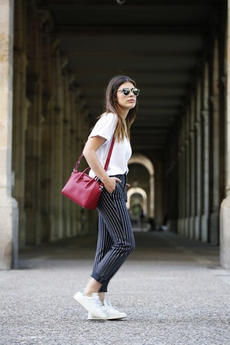 dulceida blogger striped pants red bag