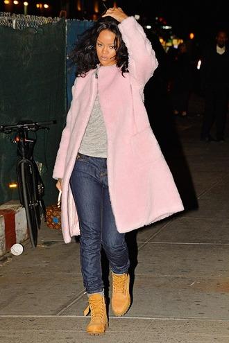 coat pink rihanna fur coat pink coat