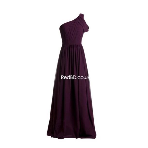 Plum bridesmaid dresses one shoulder