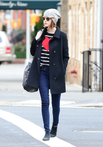 jeans sweater ankle boots streetstyle bag coat fall outfits emma stone bennie