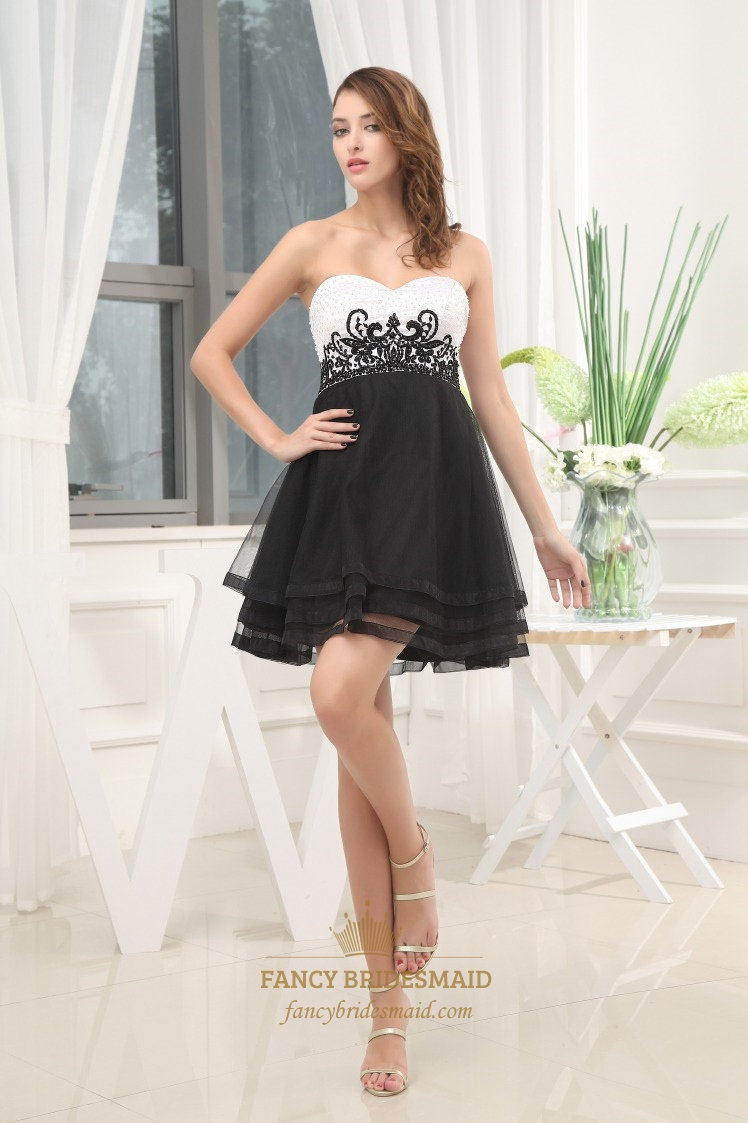 Strapless Black And White Cocktail Dress, White Tiered Cocktail Dress   Fancy Bridesmaid Dresses