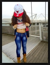 jeans,chicago bulls,hat,american flag shirt,timberlands,beaded bracelet,necklace,red,white,blue,shirt,dress,jacket,sweater,usa flag shirt,chicago bulls snapback,boots,shoes