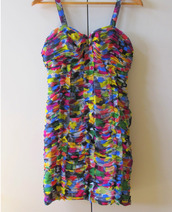 dress,multicolor,rainbow,ruched dress,ruched,sweetheart neckline,sweetheart,maxi dress,prom dress,mini dress
