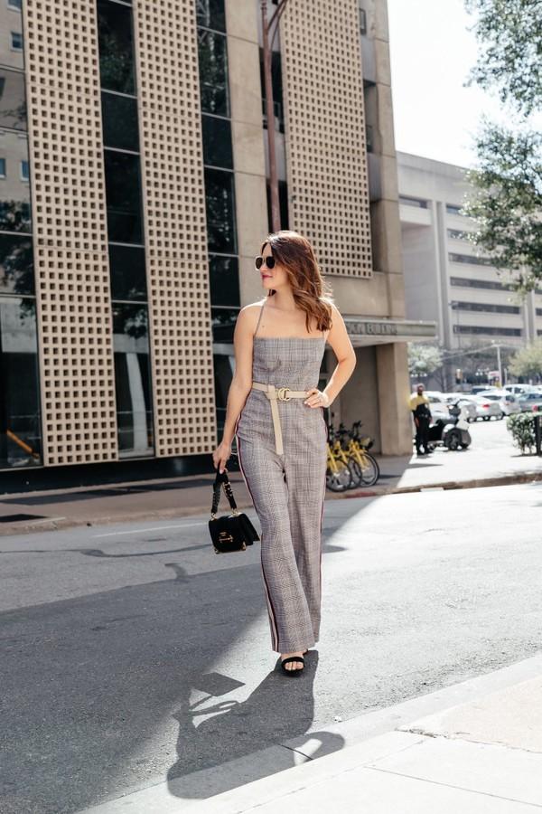 1524e2ffbd3 jumpsuit grey jumpsuit plaid plaid jumpsuit bag black bag sandals.