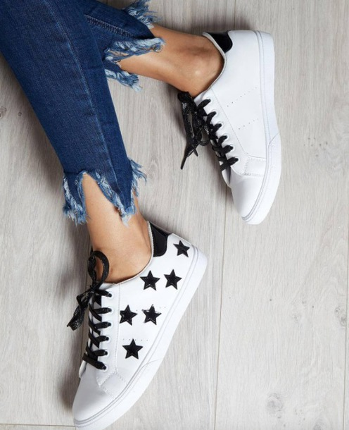 7e21241277d3 shoes blue vanilla black and white stars white sneakers sneakers platform  sneakers white shoes